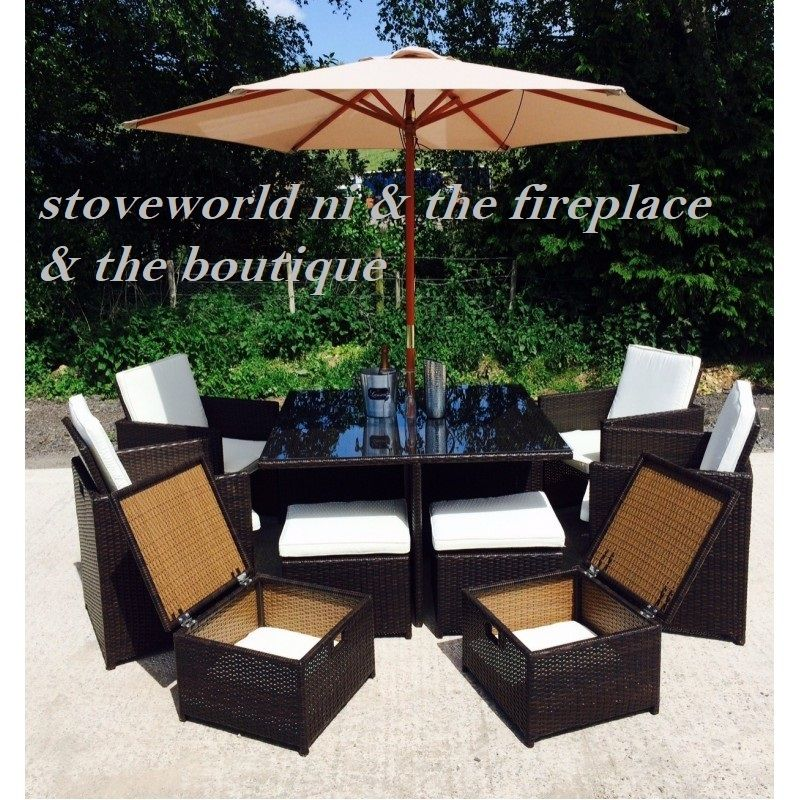 brown rattan cube 9 pc patio set with cover - Garden Furniture Ireland